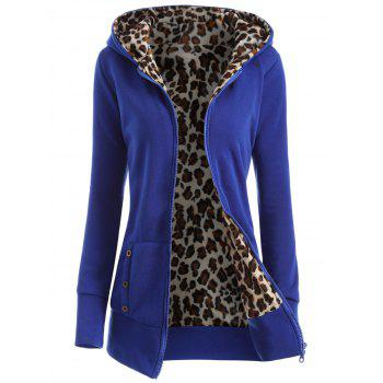 Zipper Fly Thicken Leopard Pattern Hoodie - BLUE BLUE