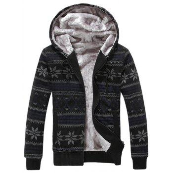 Winter Warm Fleece Rib Sleeve Hoodie