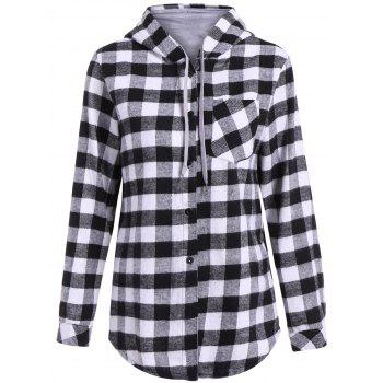 Plaid Pocket design Hoodie boutonné