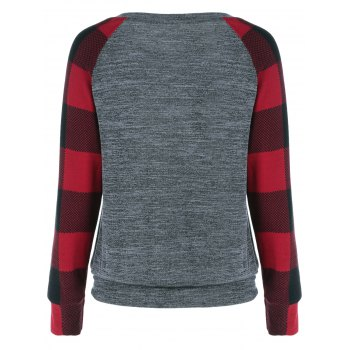 Plaid Trim Single Pocket Sweatshirt - CHECKED XL