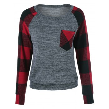 Plaid Trim Single Pocket Sweatshirt