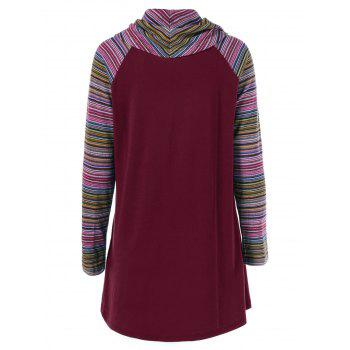 Cowl Neck Colorful Striped T-Shirt - WINE RED WINE RED