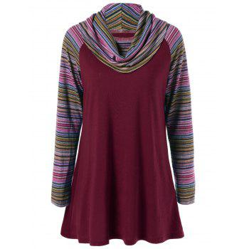 Cowl Neck Colorful Striped T-Shirt