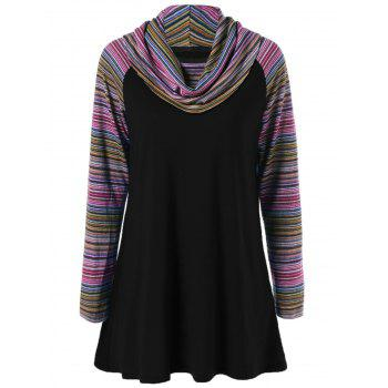 Cowl Neck Colorful Striped T-Shirt - BLACK BLACK
