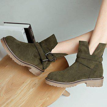 Dark Colour Double Buckle Short Boots - ARMY GREEN 39