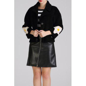 Lapel Cocoon Short Wool Coat - BLACK S