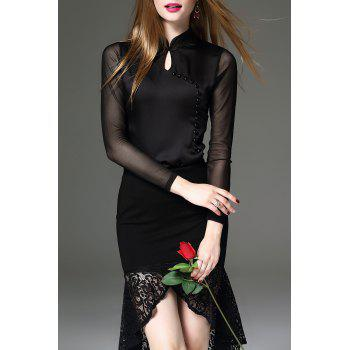 Beaded Long Sleeve Cheongsam Top