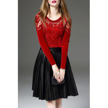 Mesh Insert Embroidered Long Sleeve Top - RED XL