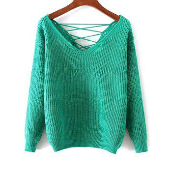 Lace-Up Double-V Loose Sweater