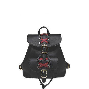 Buckles Criss-Cross Eyelet PU Leather Backpack - BLACK BLACK