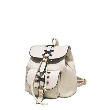 Buckles Criss-Cross Eyelet PU Leather Backpack