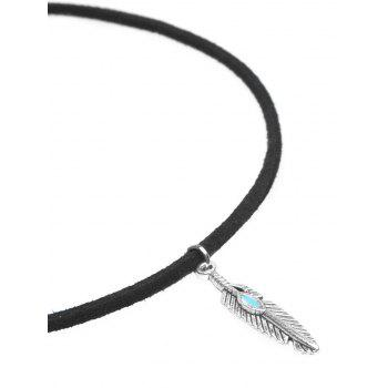 Faux Suede Resin Feather Choker Necklace - BLACK
