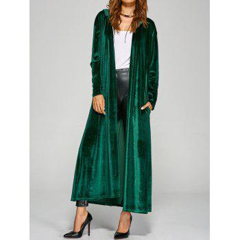 Hooded Pockets Velvet Long Coat