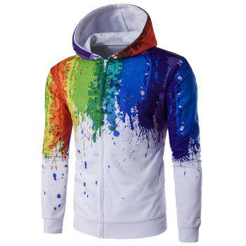 Buy Zipper-Up Paint Splatter Printed Hoodie WHITE