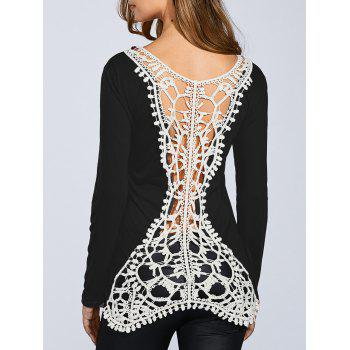 Round Neck Long Sleeve Hook Flower Spliced T-Shirt