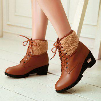 Lace-Up Faux Shearling Wedge Heel Boots - BROWN 39
