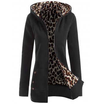 Zipper Fly Thicken Leopard Pattern Hoodie - BLACK GREY BLACK GREY