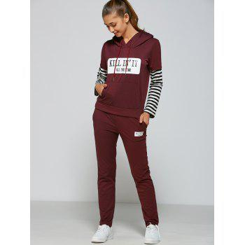 Active Striped Sleeve Hoodie+Pants - PURPLISH RED M