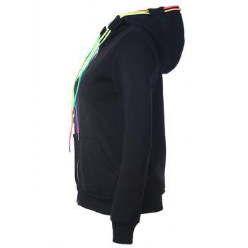 Drawstring Casual Zipper Up Hoodie - BLACK S