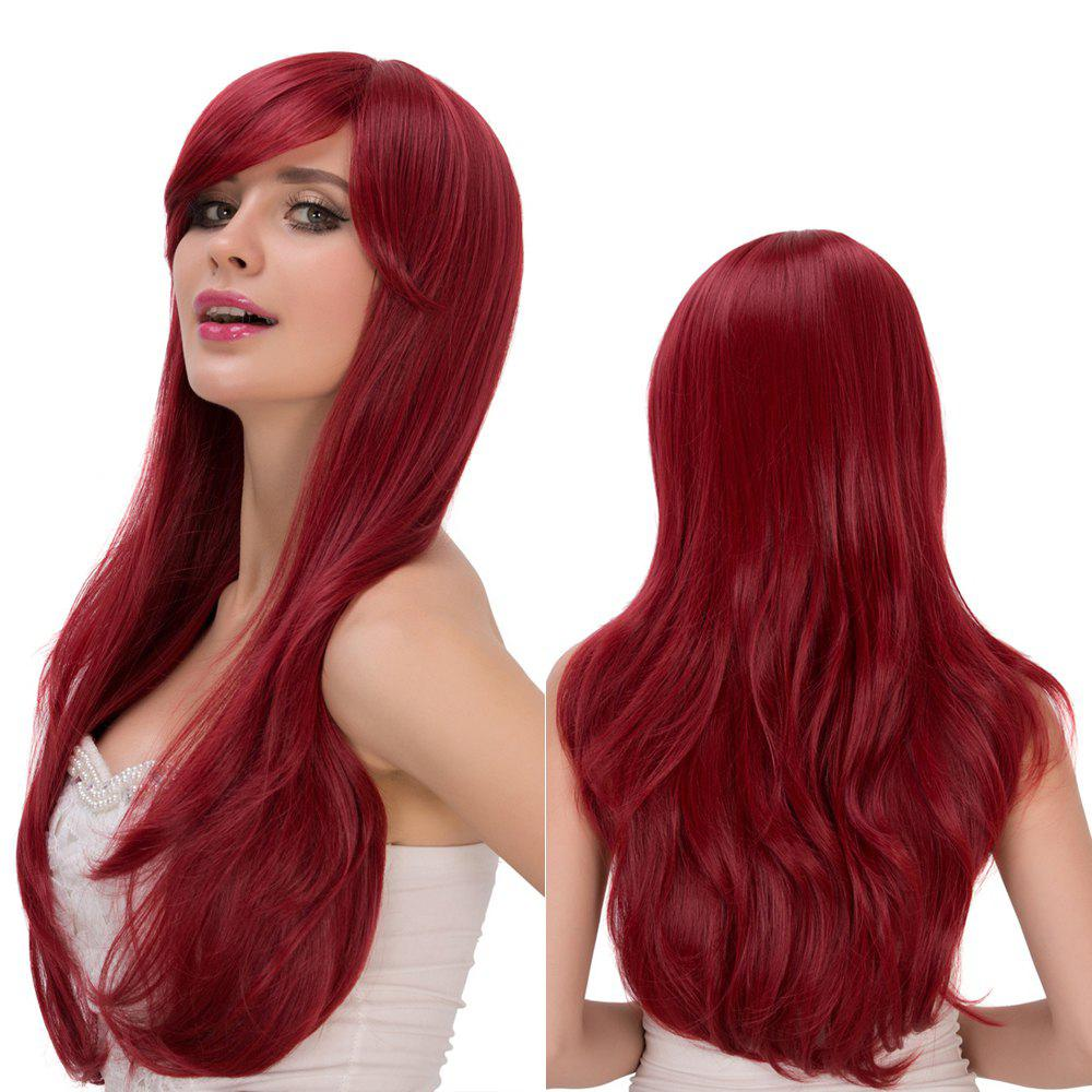 Shaggy Long Tail Adduction Wavy Oblique Bang Lolita WigHair<br><br><br>Color: WINE RED