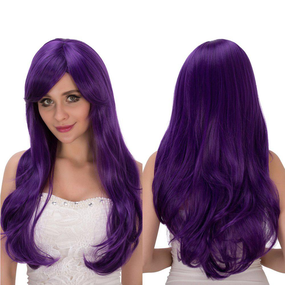 Long Wavy Oblique Bang Tail Adduction Lolita Wig - VIOLET