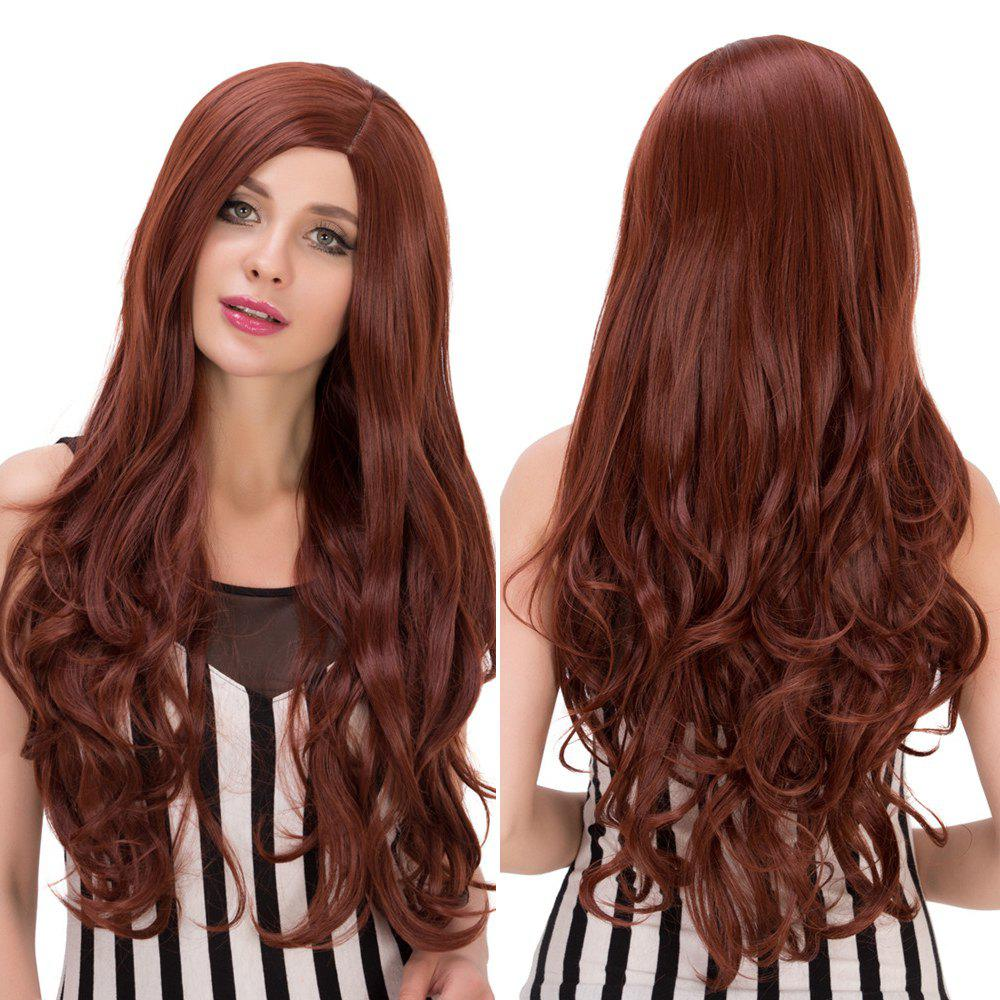 Long Side Parting Wavy Heat Resistant Fiber Wig - DARK AUBURN