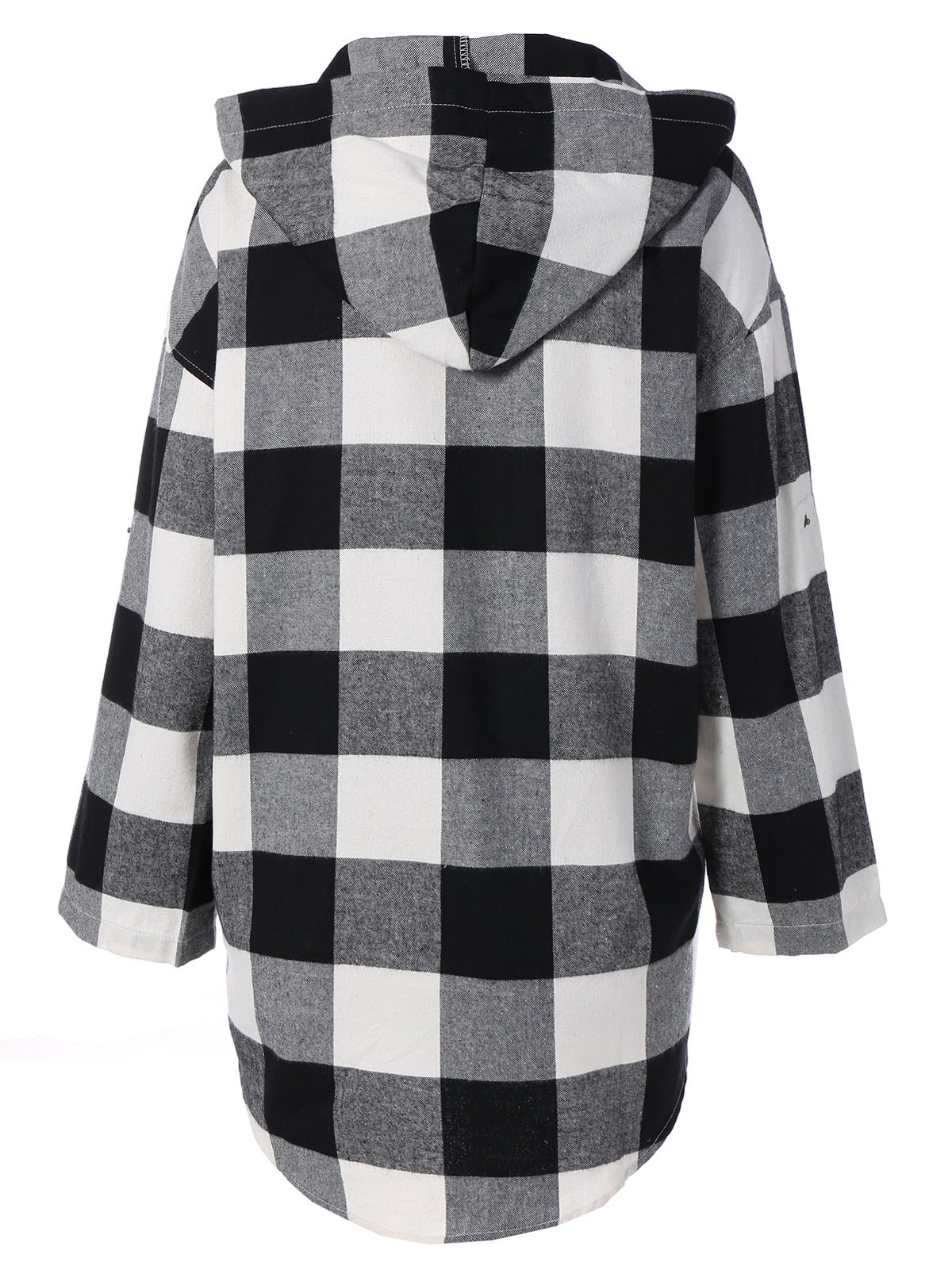 Plaid Hooded Loose Fitting Blouse - CHECKED S