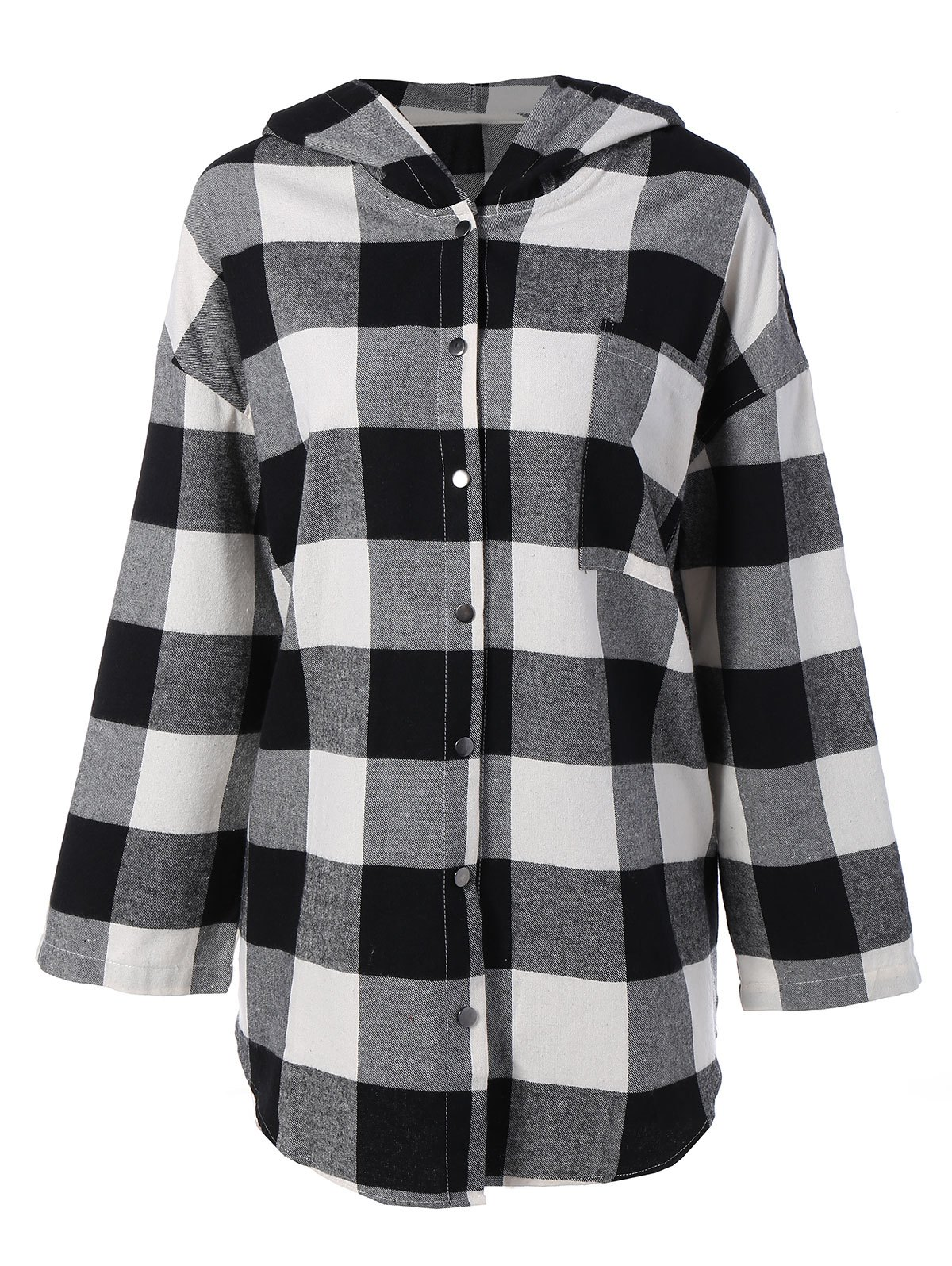 Plaid Hooded Loose Fitting Blouse - CHECKED M