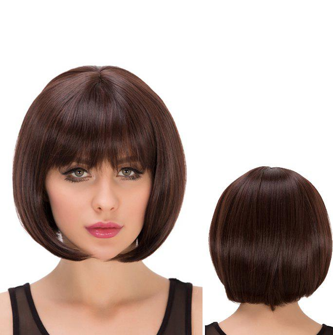 Short Full Bang Straight Heat Resistant Fiber WigHair<br><br><br>Color: DEEP BROWN