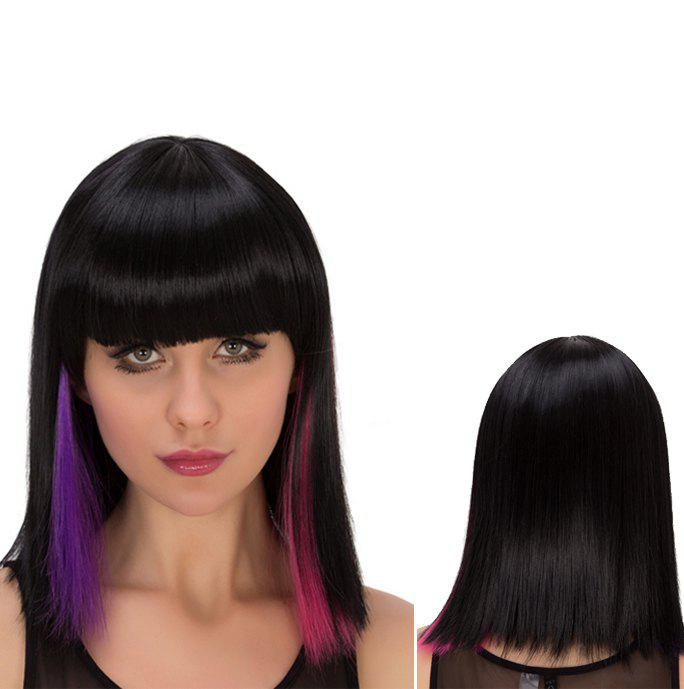 Multi Color  Medium Straight Full Bang Heat Resistant Fiber WigHair<br><br><br>Color: COLORMIX