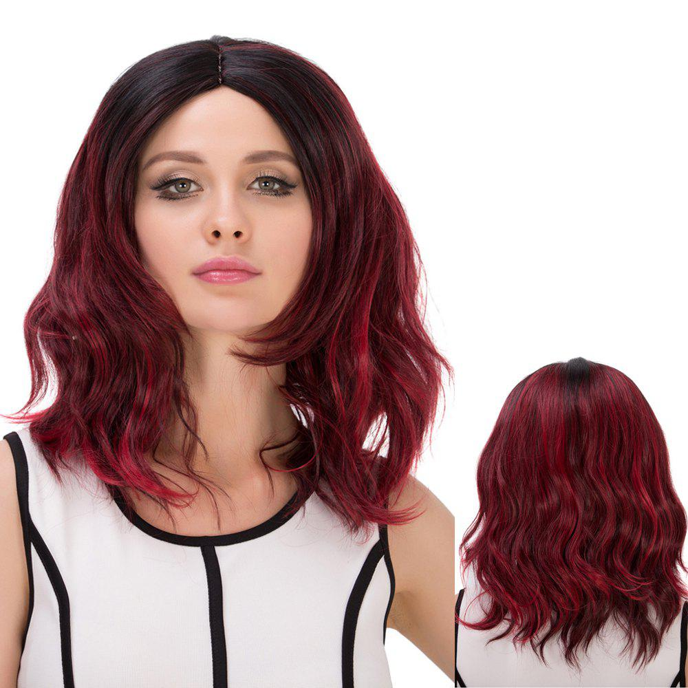 Medium Double Color Centre Parting Wavy Bouffant Synthetic Wig centre speaker