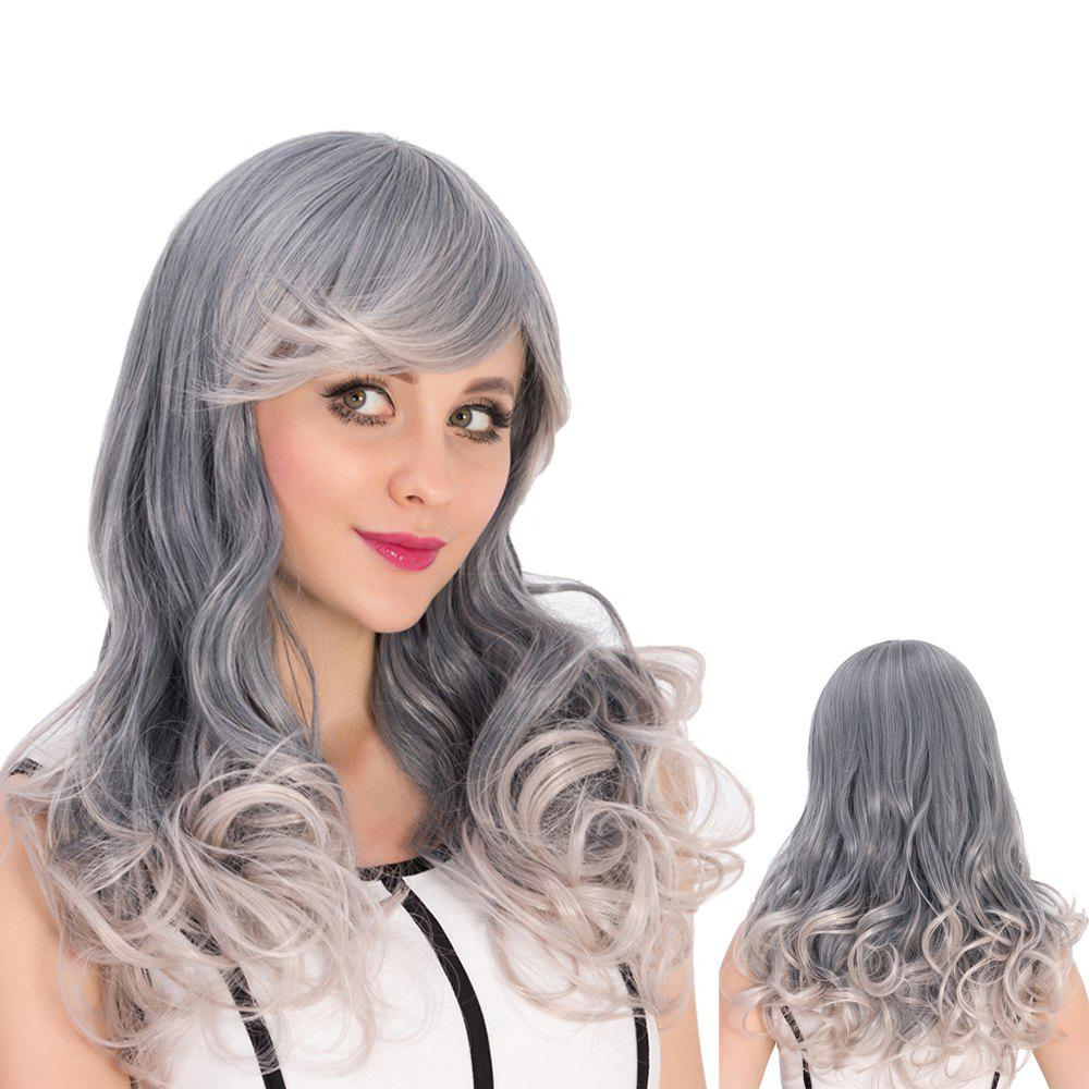 Gray Ombre Long Side Bang Wavy Cosplay Synthetic Wig dark to brown body wavy ombre synthetic lace front wig ombre synthetic lace front wig cosplay heat resistant