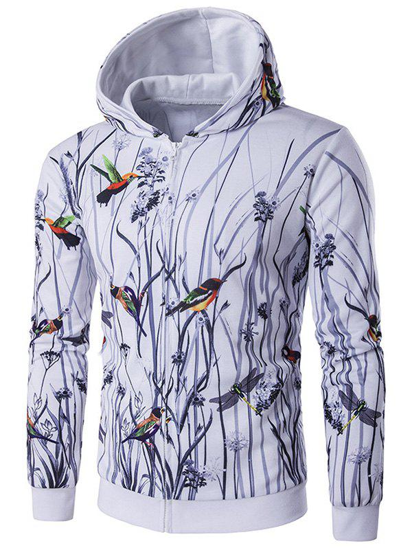 Bird Printing Long Sleeve Zippered Hoodie long sleeve bird printing zippered hoodie