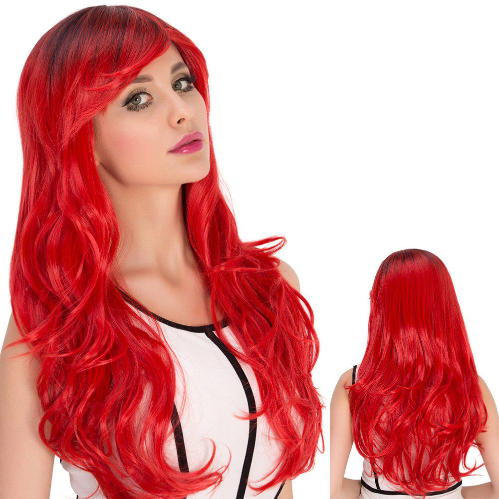 Red Gradient Long Side Bang Wavy Cosplay Synthetic Wig - COLORMIX