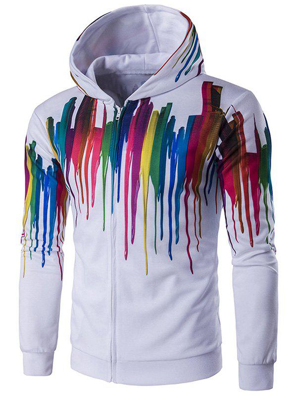 Paint Dripping Printed Long Sleeve Zippered Hoodie