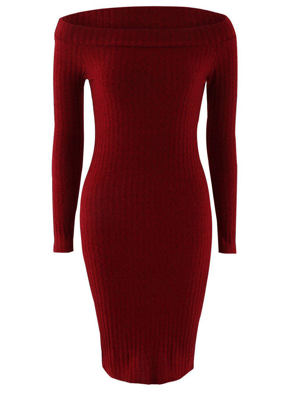 Off The Shoulder Long Sleeve Knit Dress - WINE RED XL