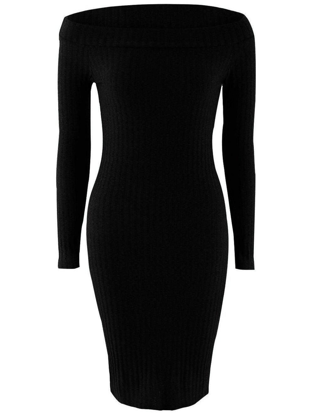 Off Shoulder Long Sleeve Skinny Knit Dress - BLACK XL
