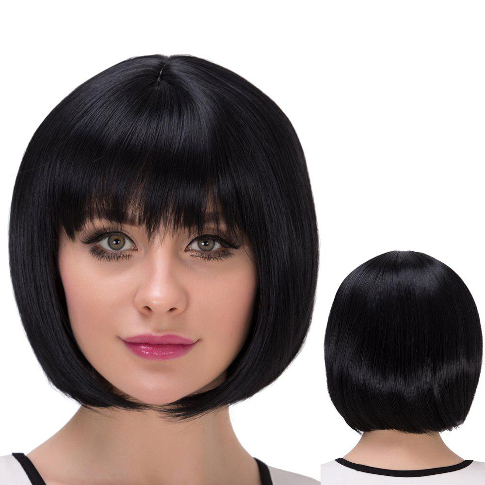 Short Neat Bang Natural Straight Bob Synthetic Wig trendy bob straight short natural black neat bang heat resistant synthetic capless wig for women
