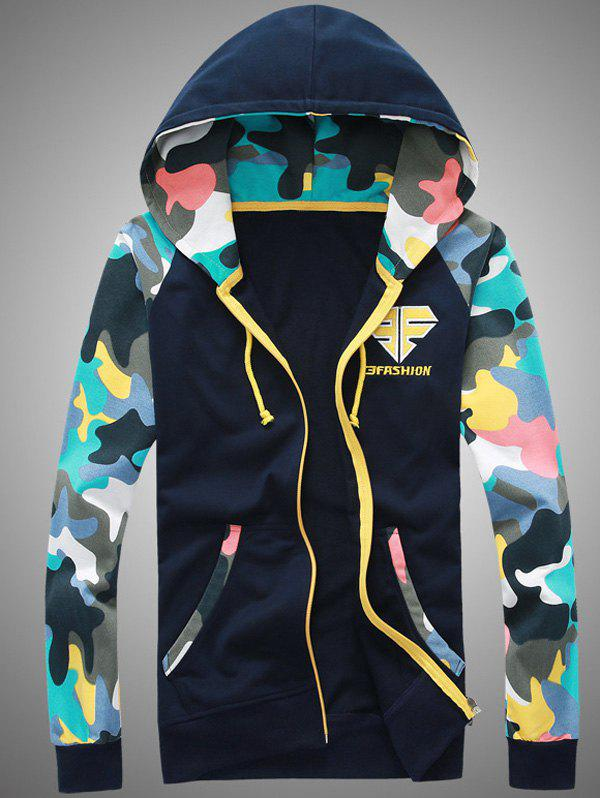 Hooded Camouflage Splicing Embroidered Zip-Up Hoodie фото