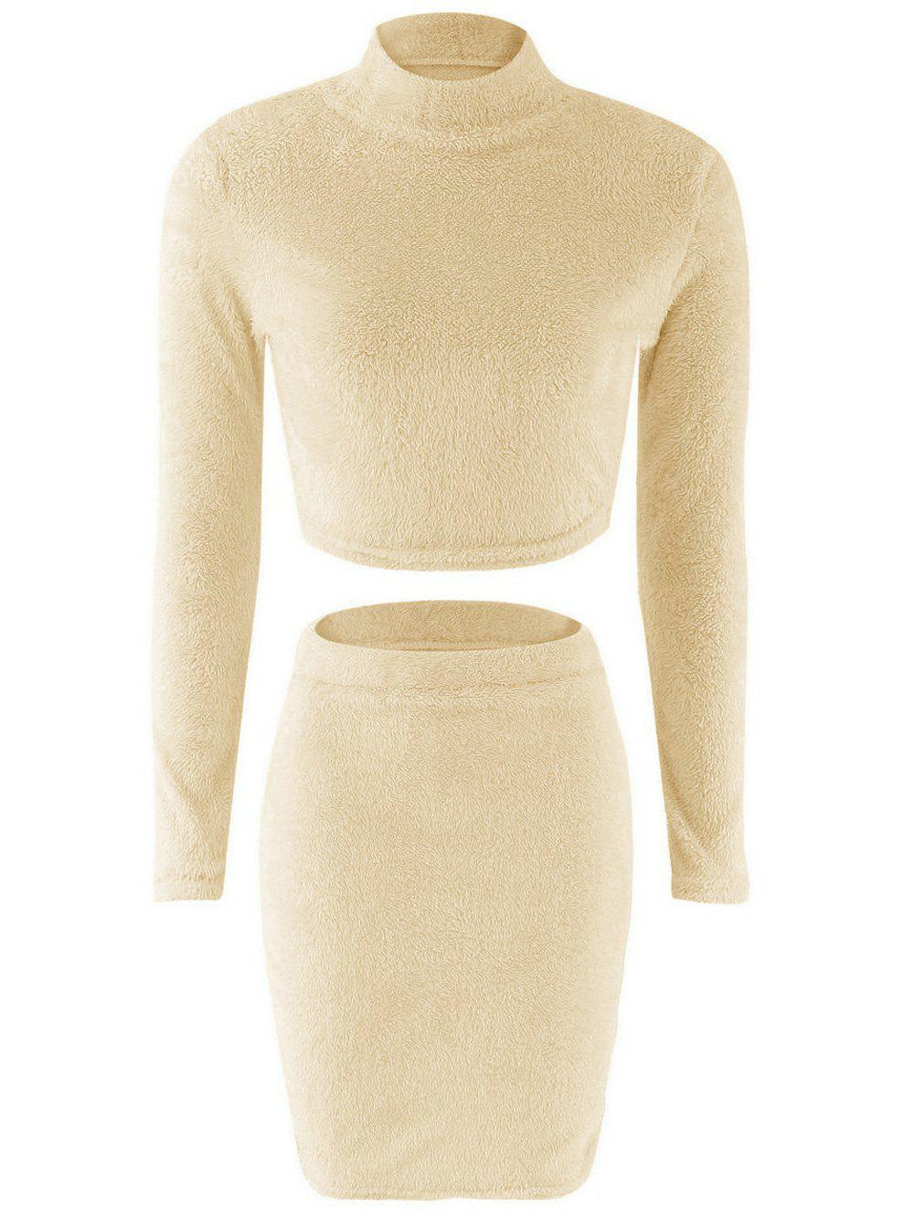 Fuzzy Crop Top + Elastic Waist Bodycon Skirt Twinset - BEIGE S