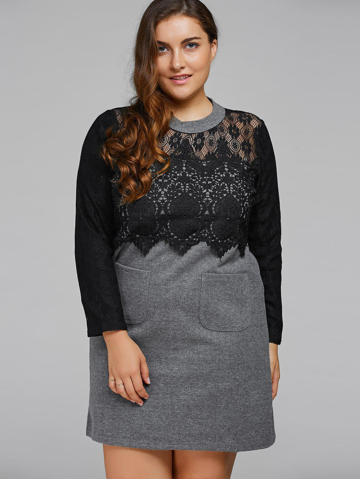 Lace Patchwork Openwork Wool Dress - GRAY 2XL