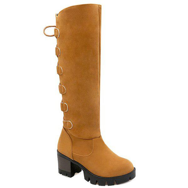 Tie Up Platform Tassels Knee-High Boots - LIGHT BROWN 38