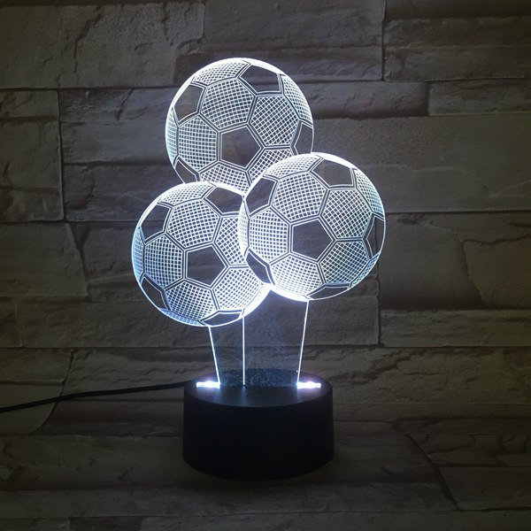 Colorful Three Football Shape 3D Visual LED Table Night Light - COLORFUL