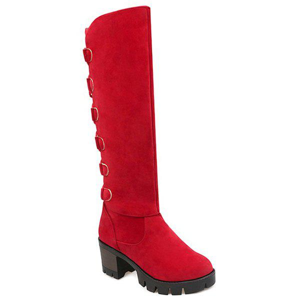 Tie Up Platform Tassels Knee-High Boots - RED 39