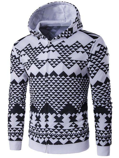 All-Over Geometric Printed Zip-Up Hoodie zip up all over animal printed hooded jacket