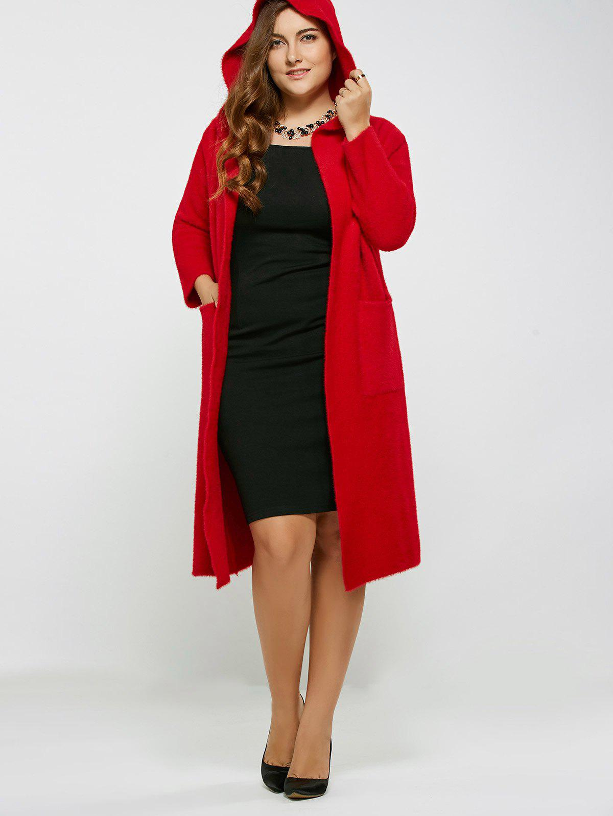 Long Hooded Cardigan with Pocket, RED, ONE SIZE in Plus Size ...