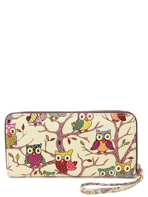 PU Leather Zip Around Owl Print Wallet - BEIGE