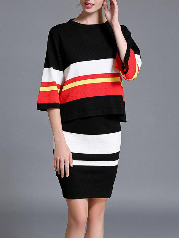 Slimming Striped Knitted Two Piece Dress knitted striped mini dress