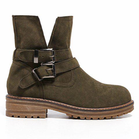 Dark Colour Double Buckle Short Boots - ARMY GREEN 37