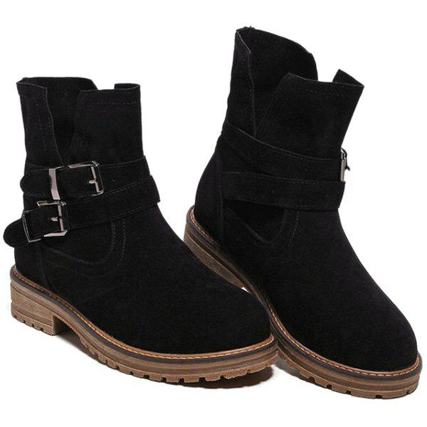 Dark Colour Double Buckle Short Boots - BLACK 37